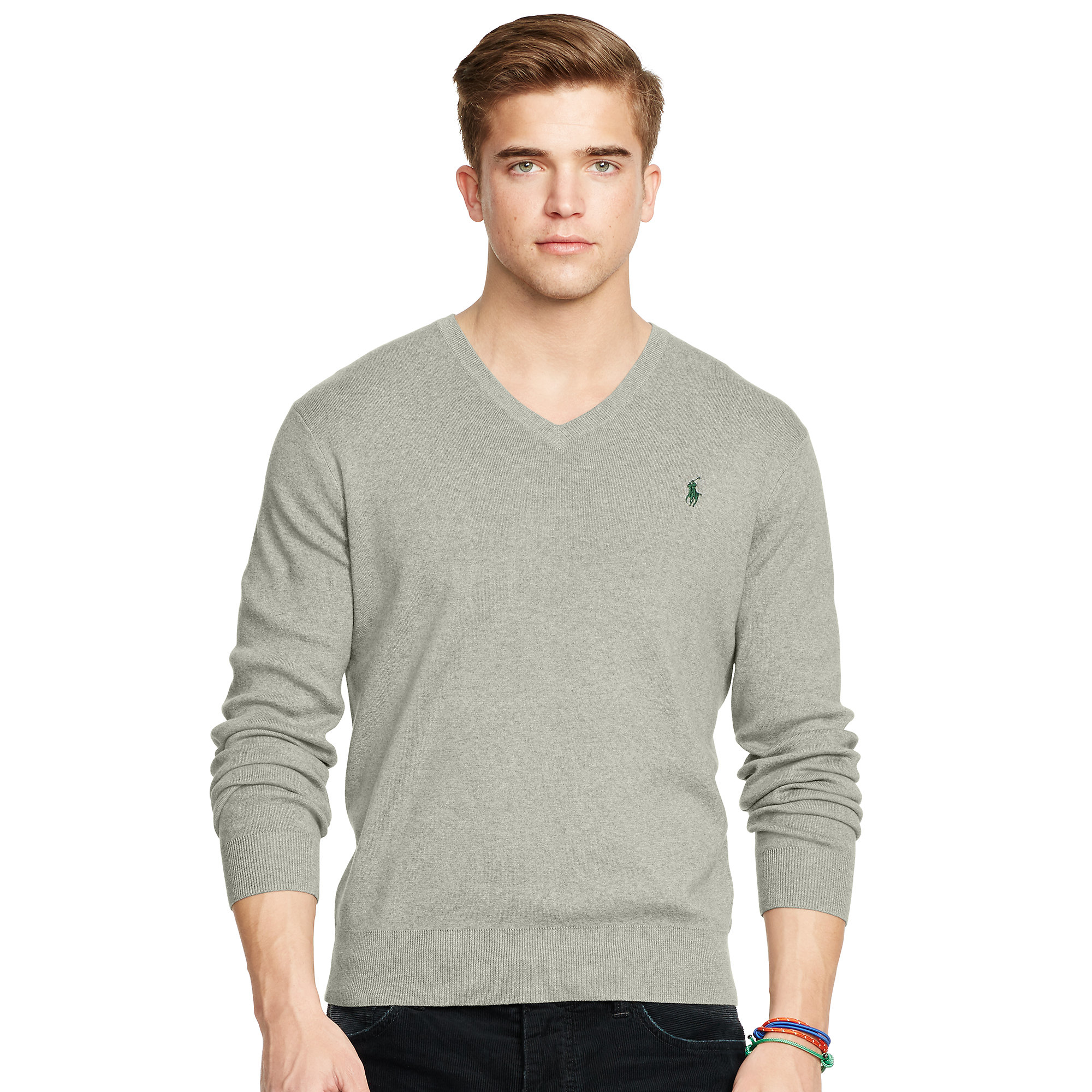 Lyst - Polo Ralph Lauren Pima Cotton V-neck Sweater in Gray for Men 16357122559f