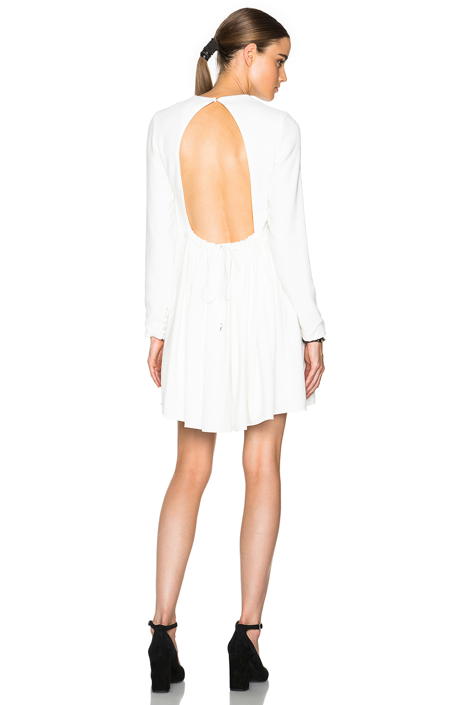 Victoria victoria beckham Long Sleeve Open Back Dress in White  Lyst