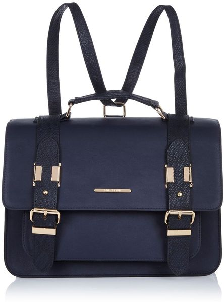 River Island Navy Blue Large Satchel In Blue Lyst