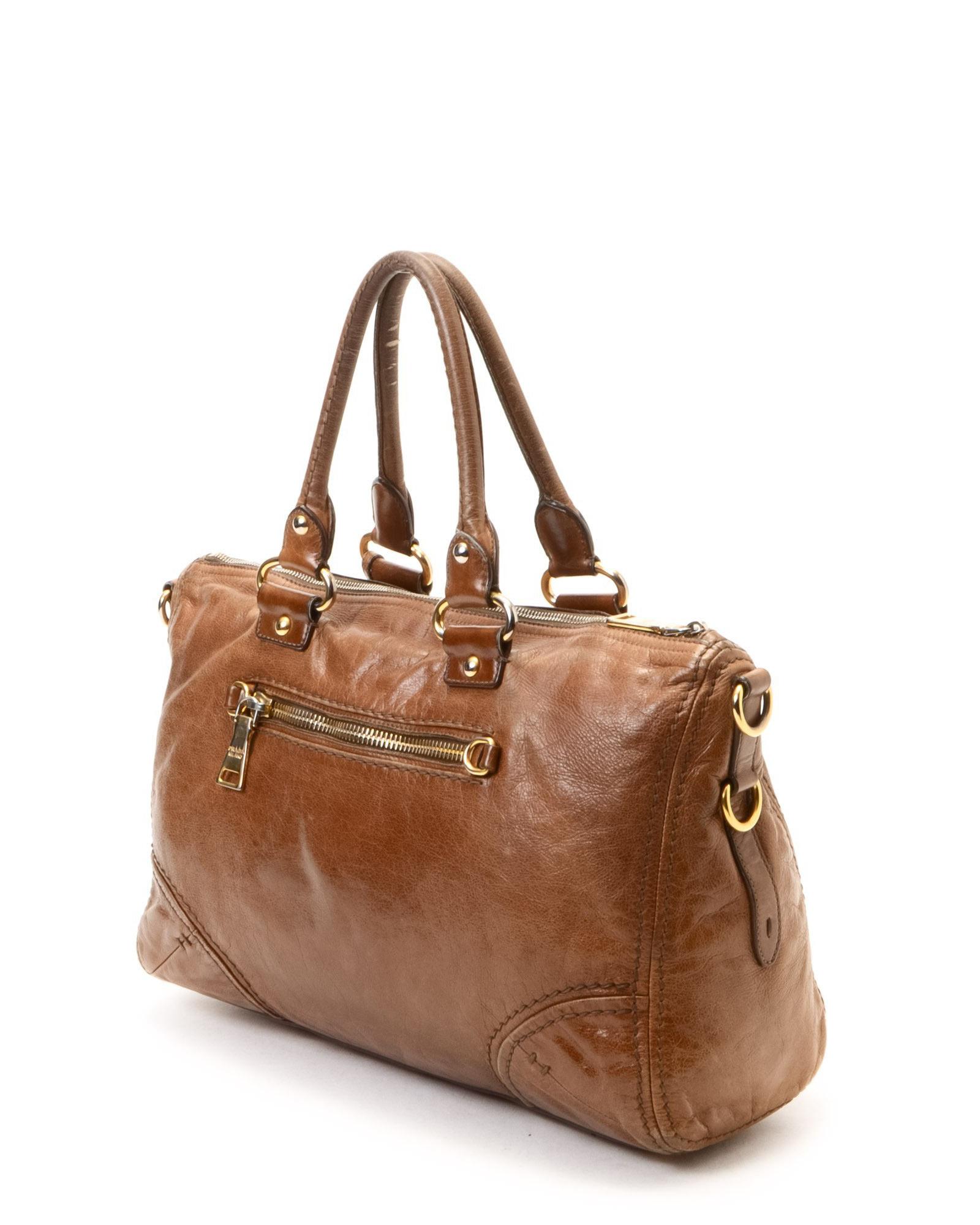 Prada Handbag Two Way Bag Vintage In Brown Lyst