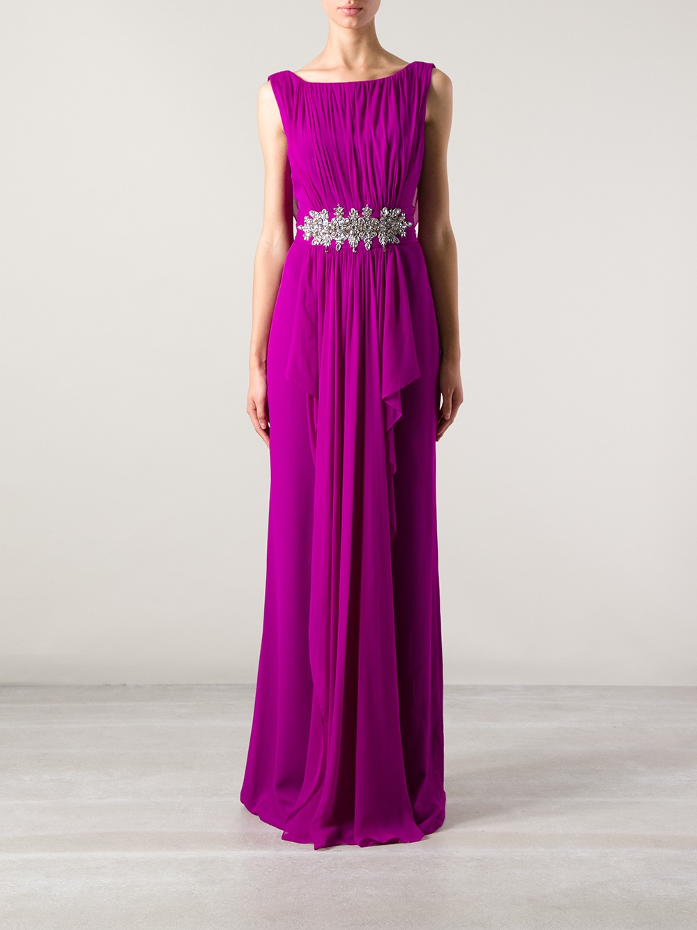 Lyst Marchesa Marchesa Embellished Evening Dress In Purple