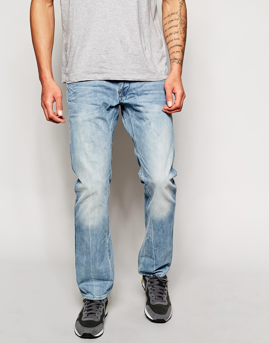 g star raw g star attacc straight light aged wash jean in. Black Bedroom Furniture Sets. Home Design Ideas