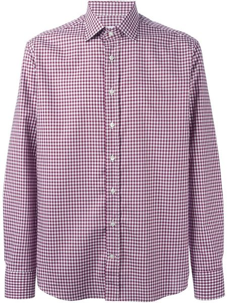 Etro Gingham Check Shirt In Purple For Men Pink Purple