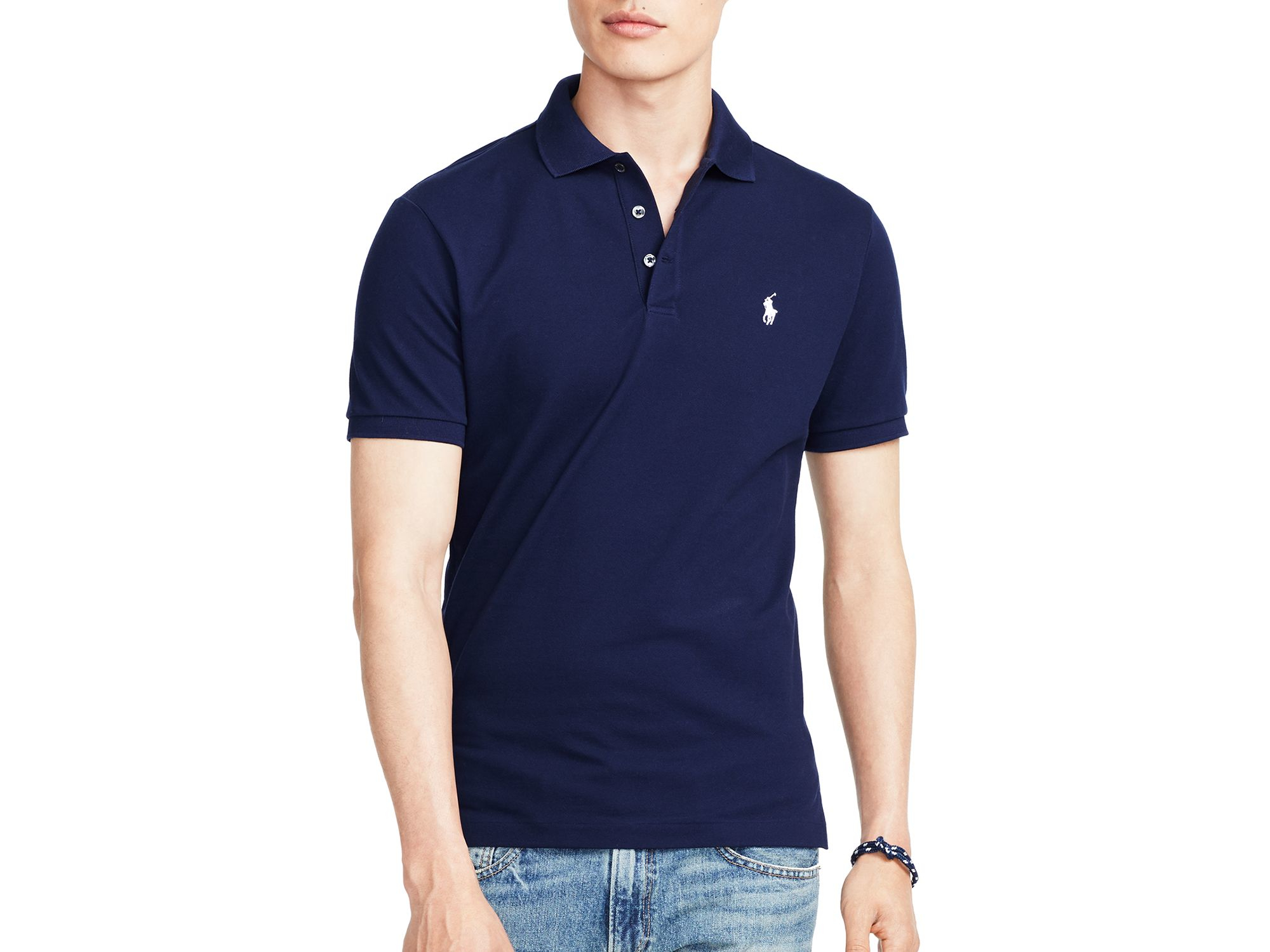Lyst ralph lauren polo stretch mesh slim fit polo shirt for Slim fit collared shirts