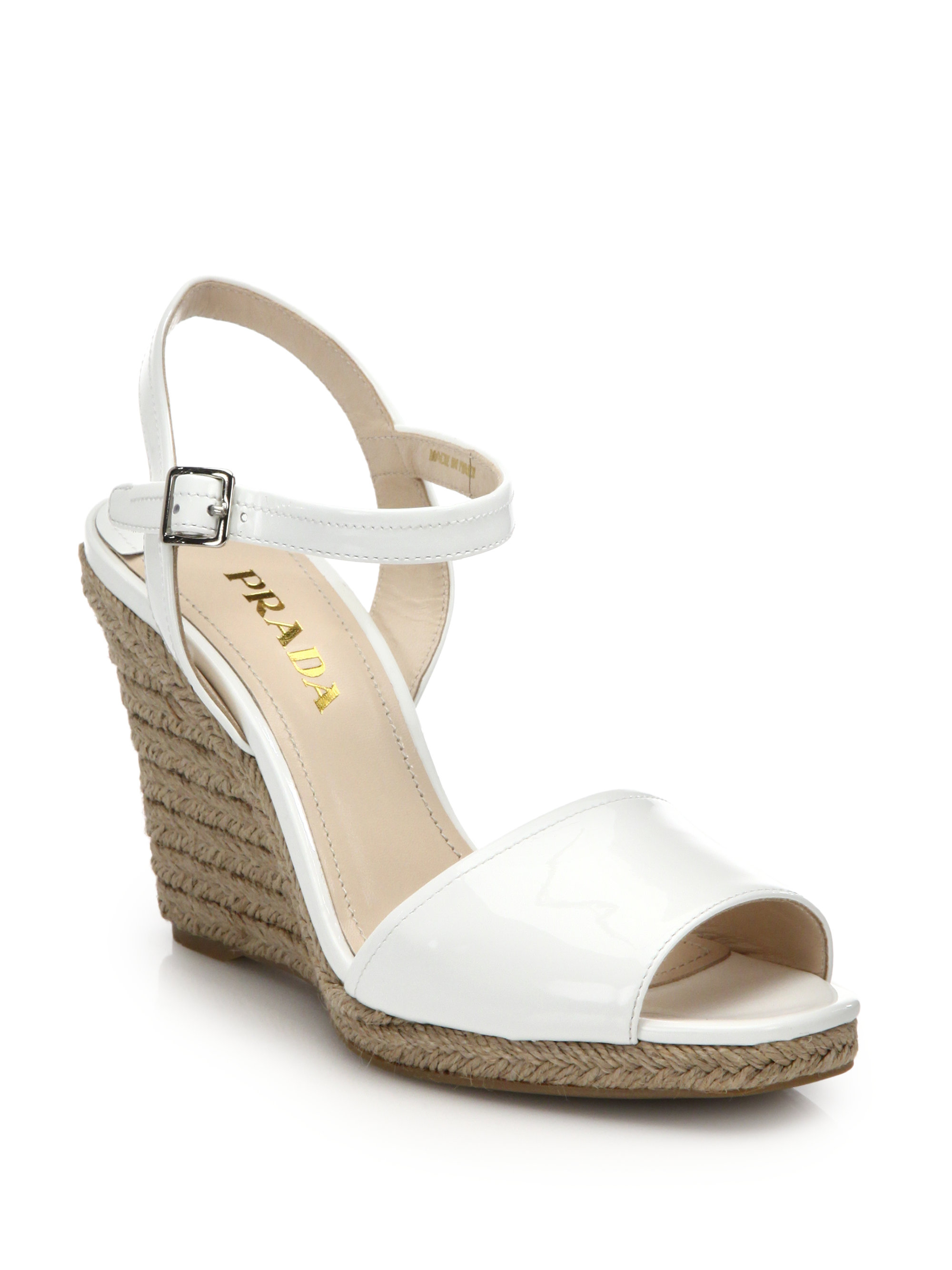 Prada Patent Leather Espadrille Wedge Sandals in White | Lyst