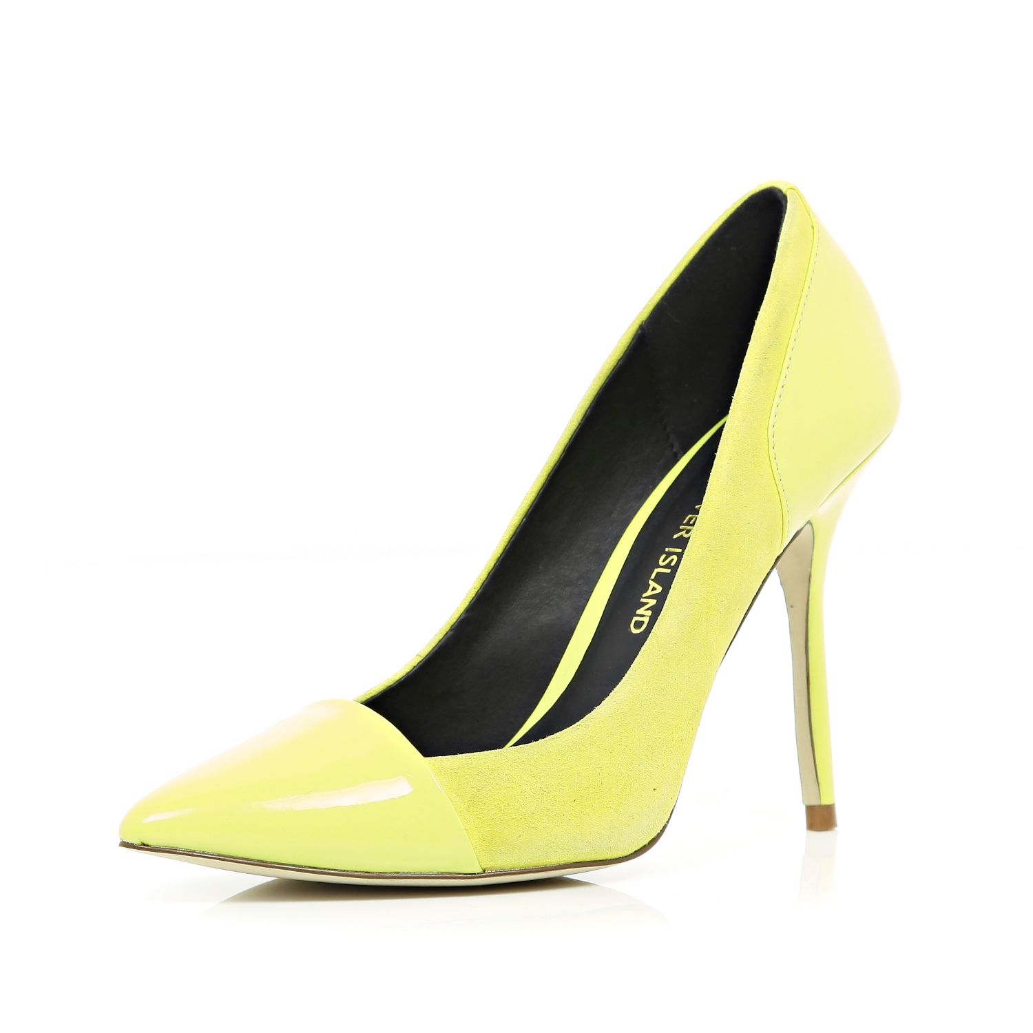 Yellow Mid Heel Court Shoes