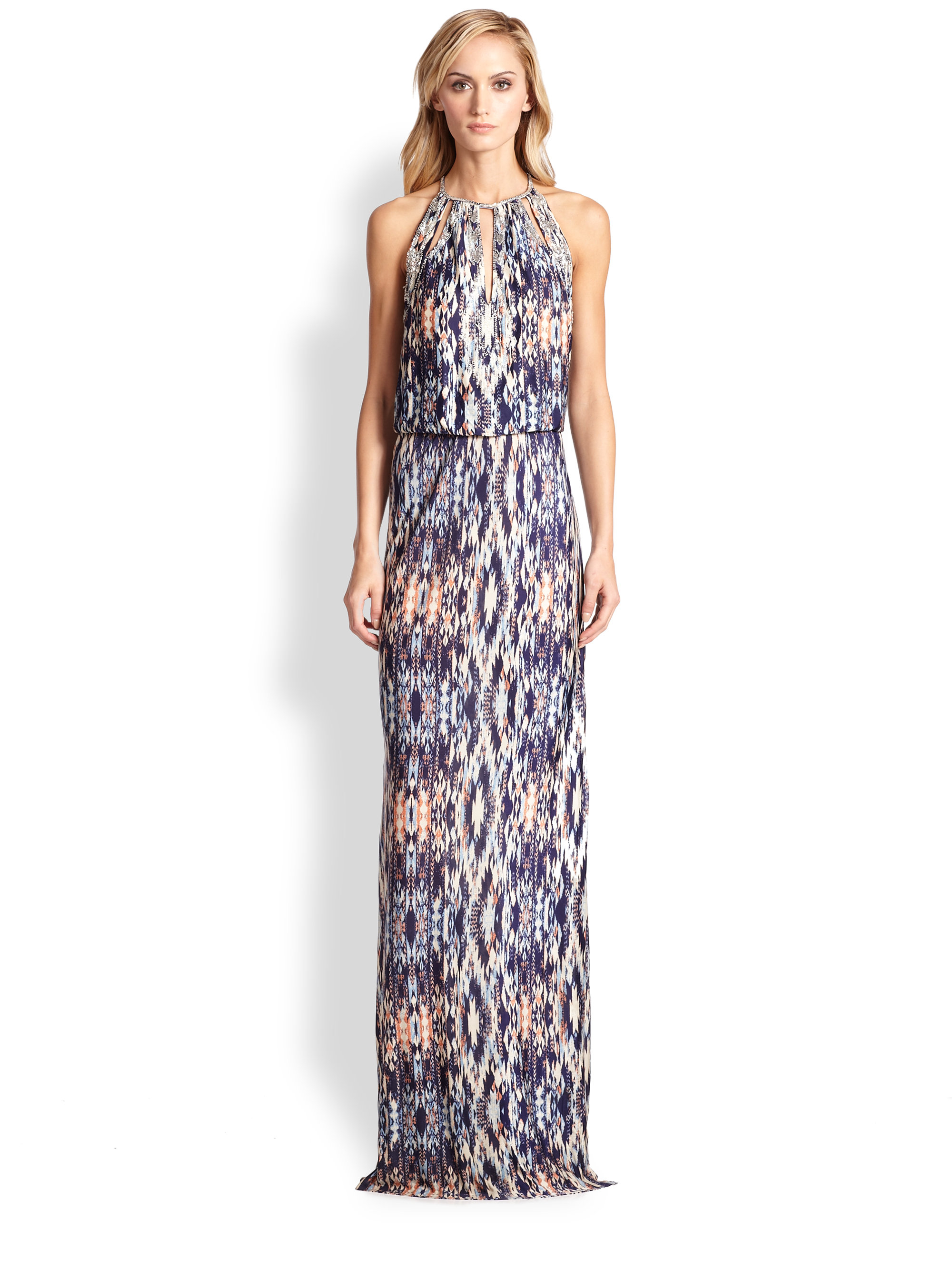 Parker Moriah Beaded Cutout Tribal-Print Maxi Dress in Natural | Lyst