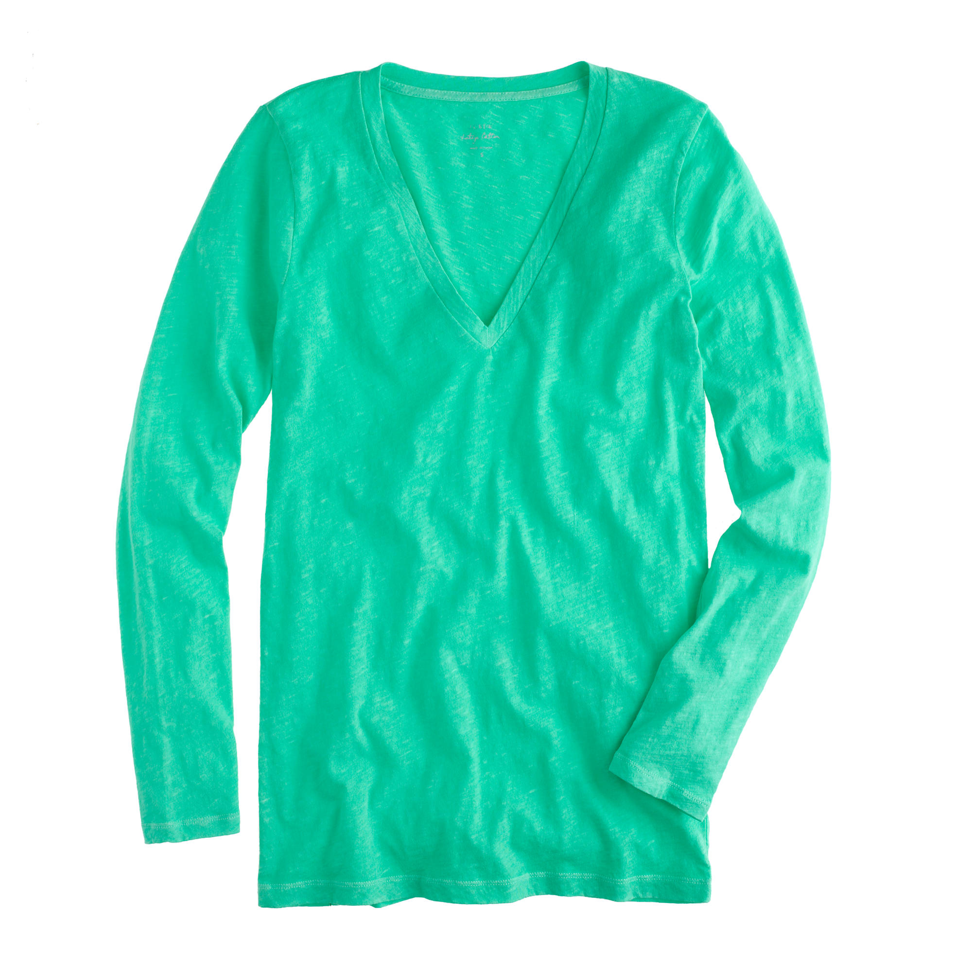Vintage cotton long sleeve v neck t shirt in green for Cotton long sleeve v neck t shirts
