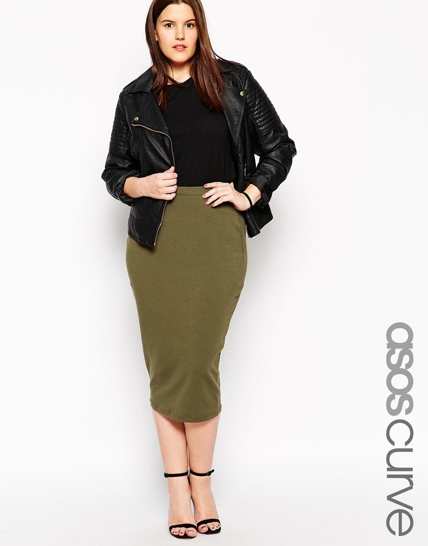 Asos Midi Pencil Skirt In Jersey in Natural | Lyst