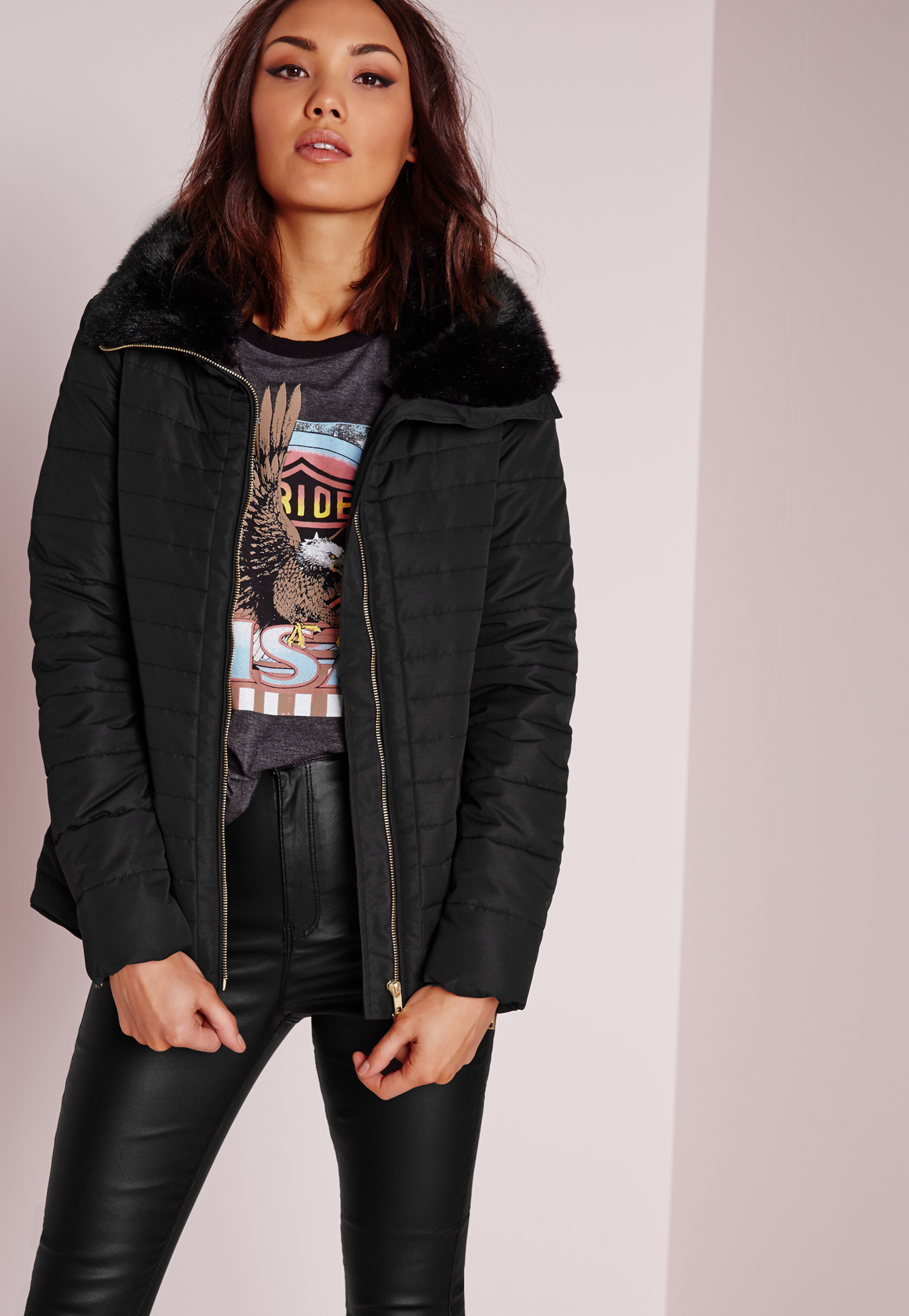 Lyst Missguided Padded Fur Collar Coat In Black
