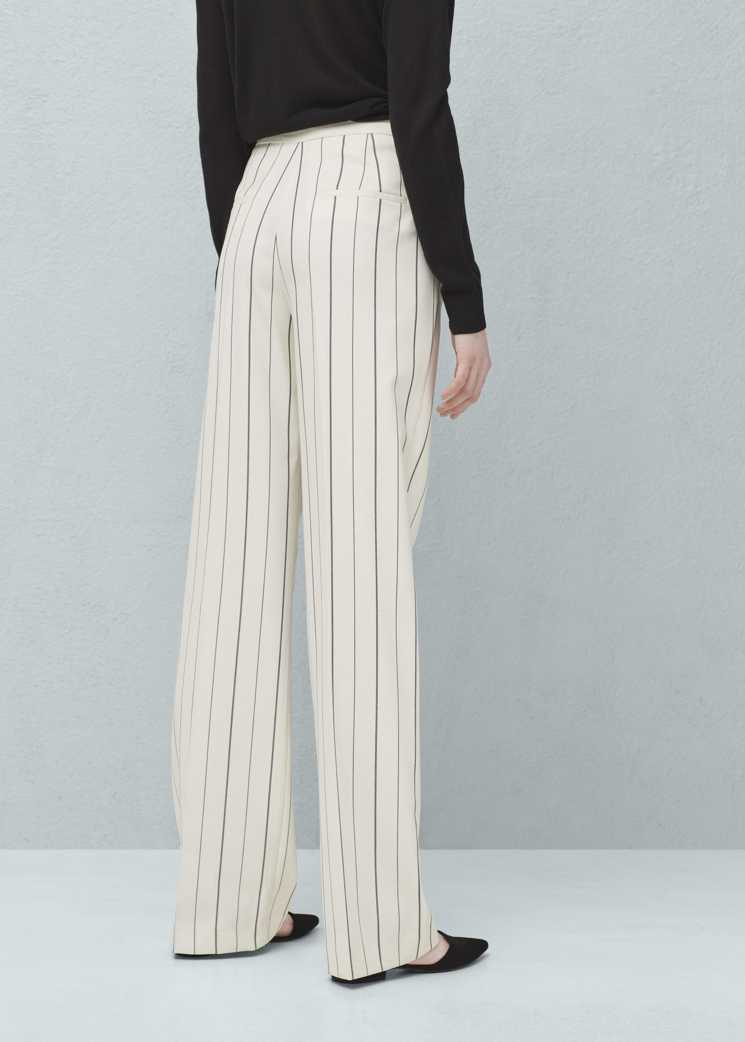 popular stores the latest new list Mango White Straight Striped Trousers