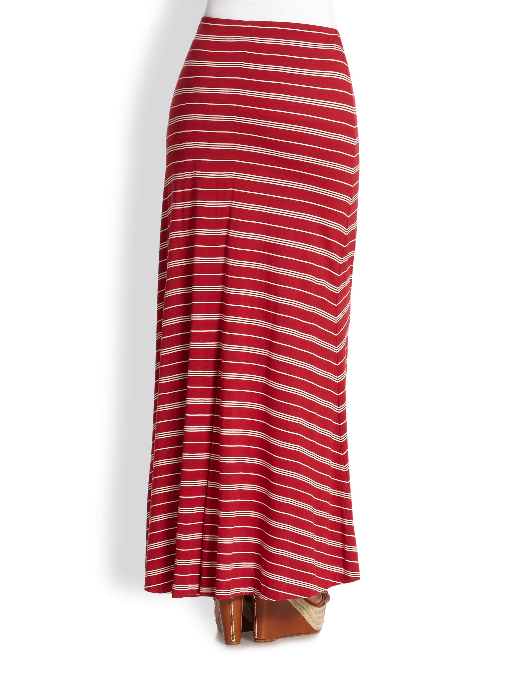 Polo ralph lauren Kimika Striped Maxi Skirt in Red | Lyst