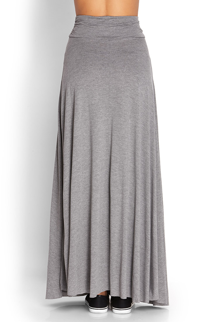 forever 21 ruched side maxi skirt in gray grey