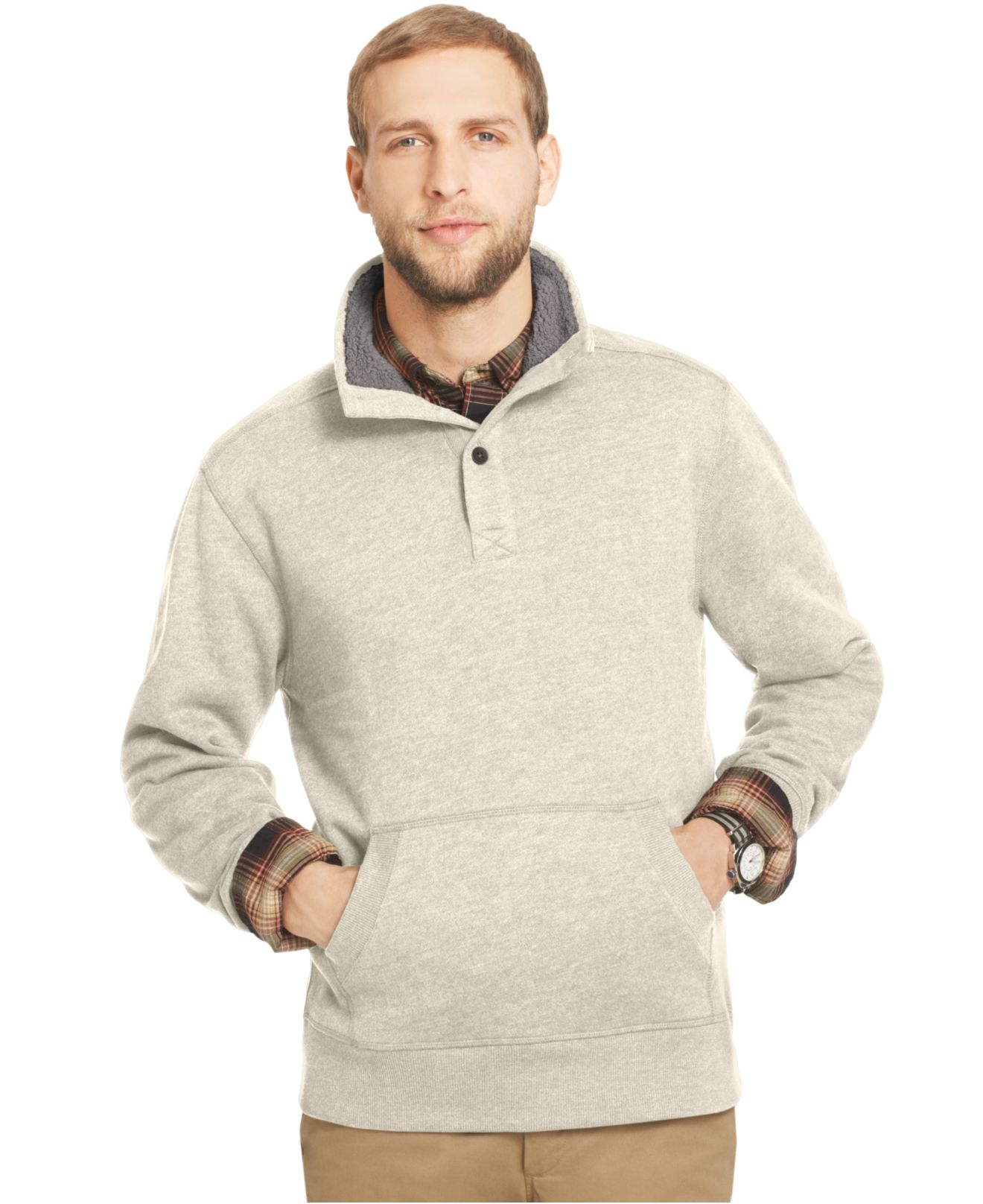 G.h. bass & co. G.H. Sherpa-Lined Button Mock-Neck Fleece Pullover ...