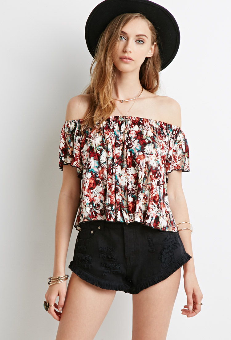 b5f703e4e89 Forever 21 Floral Tie-dye Off-the-shoulder Top in Brown - Lyst