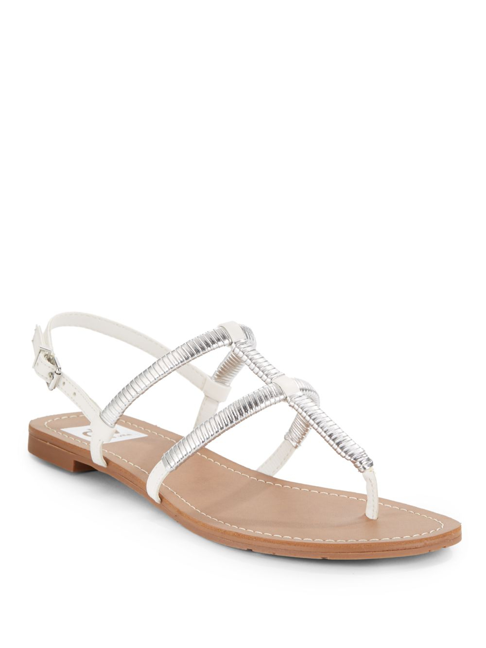 220b90a2d1ef49 Lyst - Dv By Dolce Vita Gava Silver Metallic-Trimmed Flat Sandals in ...