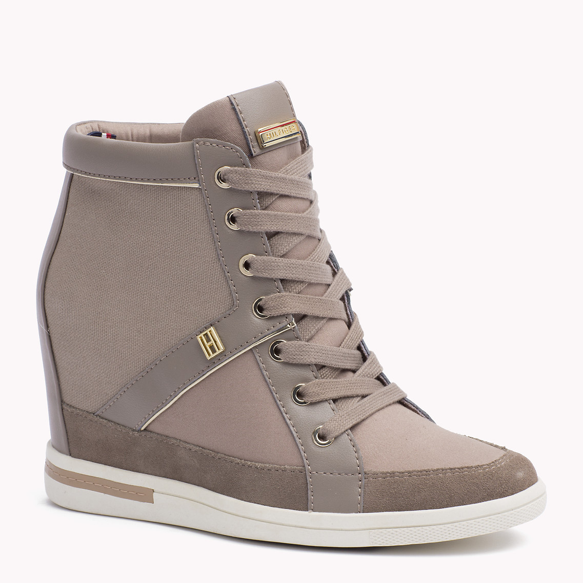 lyst tommy hilfiger mixed canvas wedge sneaker in gray. Black Bedroom Furniture Sets. Home Design Ideas