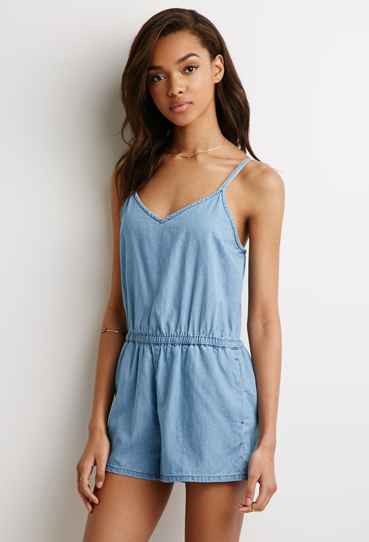 Lyst - Forever 21 Chambray Cami Romper in Blue