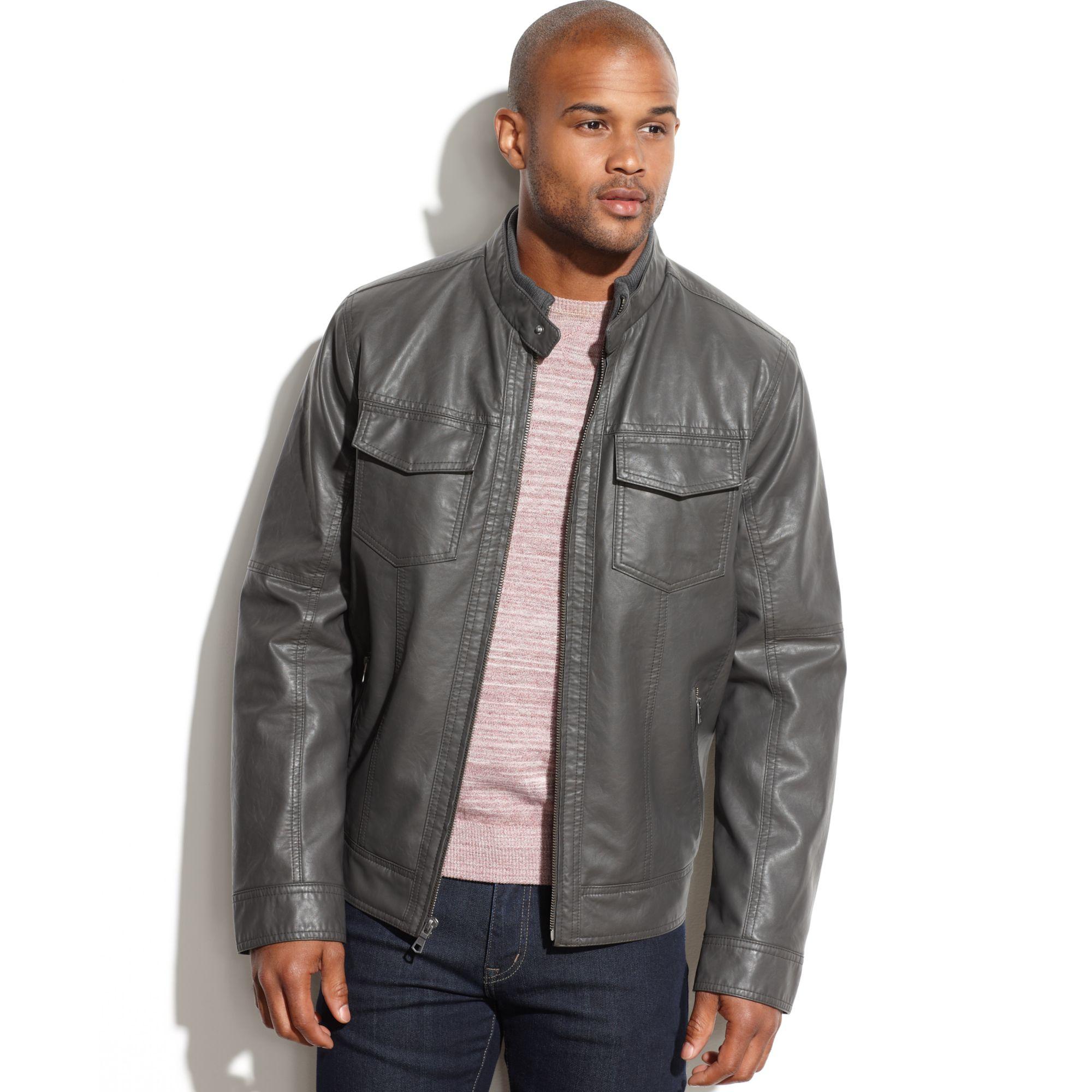 tommy hilfiger faux leather moto jacket in gray for men. Black Bedroom Furniture Sets. Home Design Ideas