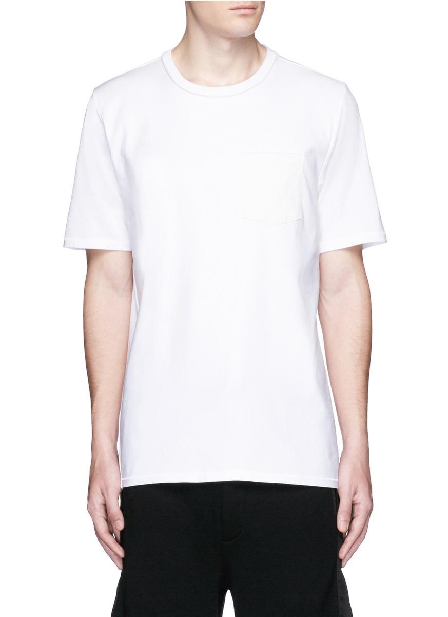 Rag bone 39 flint 39 contrast front t shirt in black for men for Rag and bone white t shirt