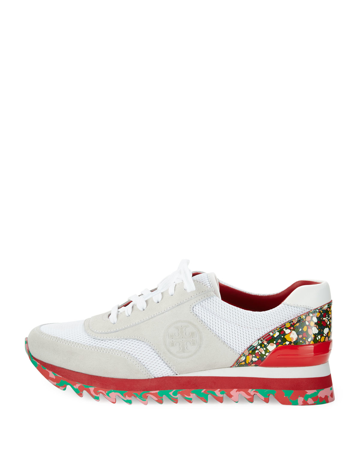 d66c7eace Lyst - Tory Burch Festival Sawtooth Logo Trainer Sneaker in White