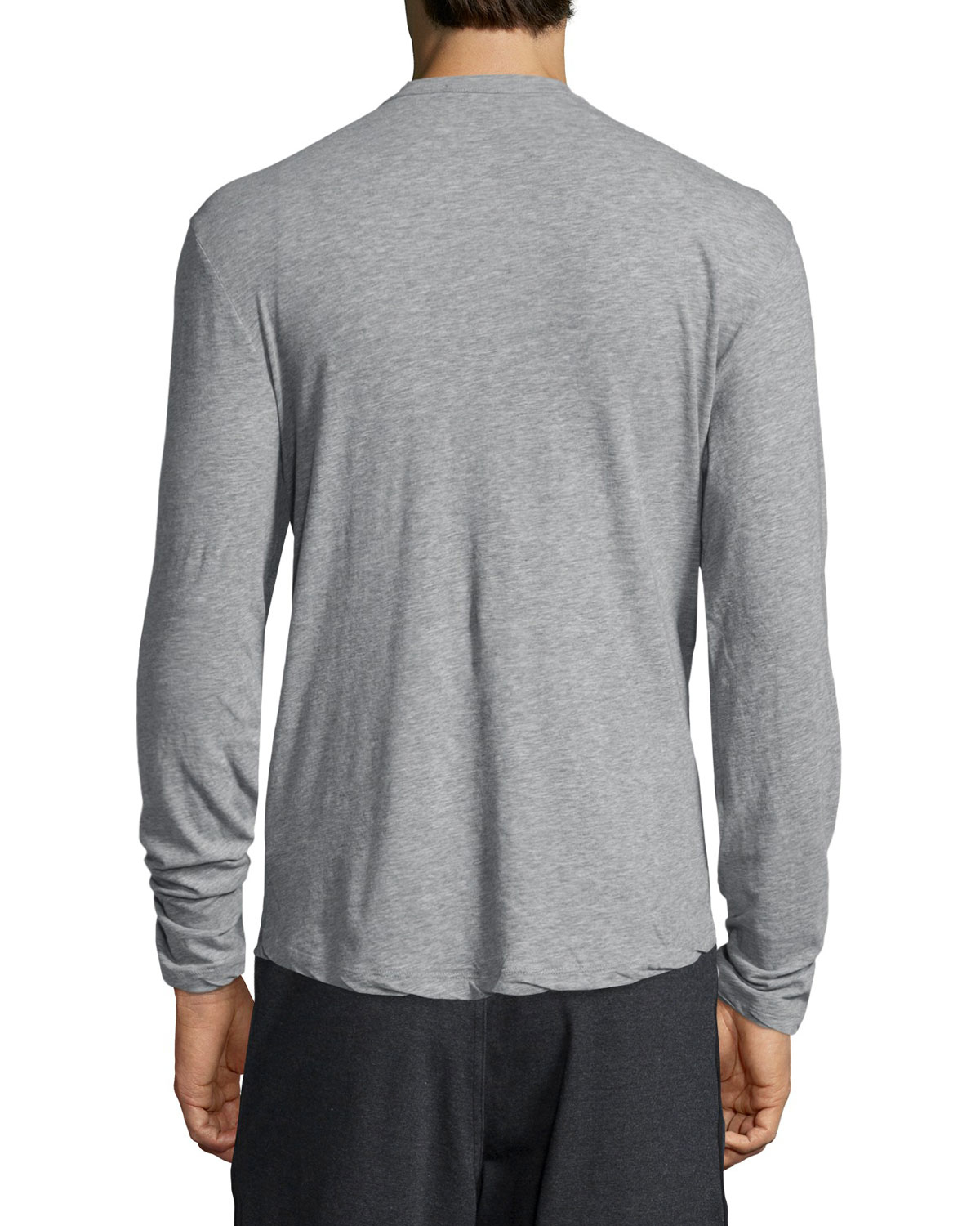 James perse long sleeve knit henley shirt in gray for men for James perse henley shirt