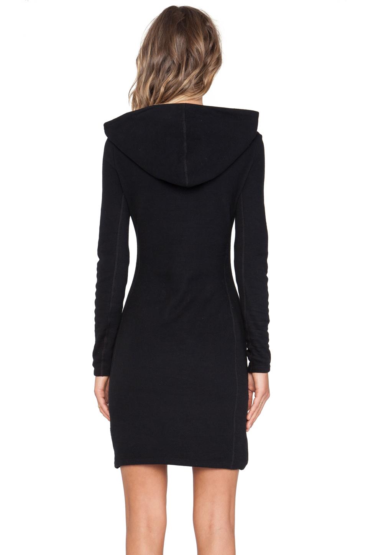Lyst James Perse Brushed Fleece Hooded Dress In Black
