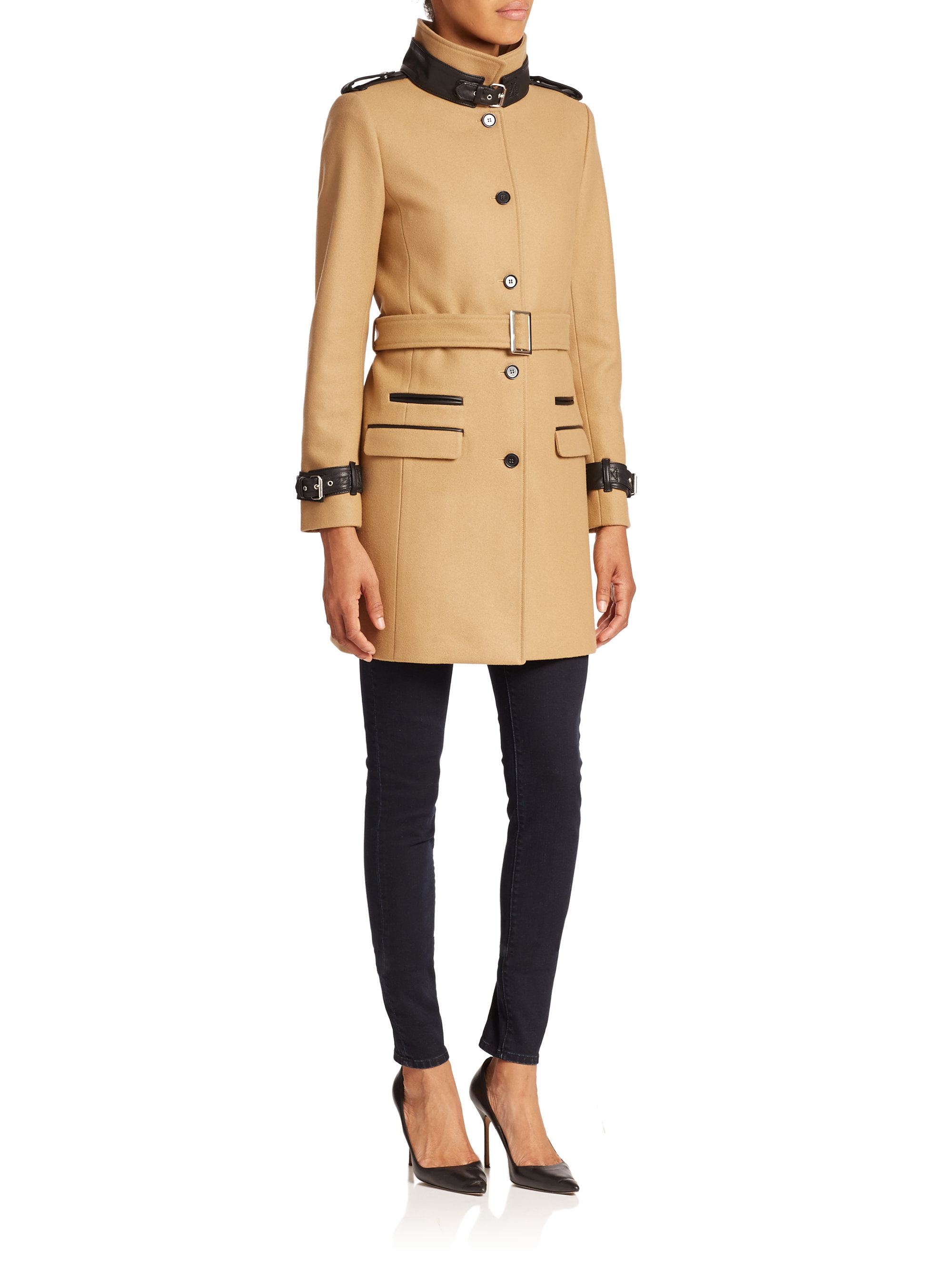 8f7a0604b92 The Kooples Leather-detailed Stretch Coat in Natural - Lyst