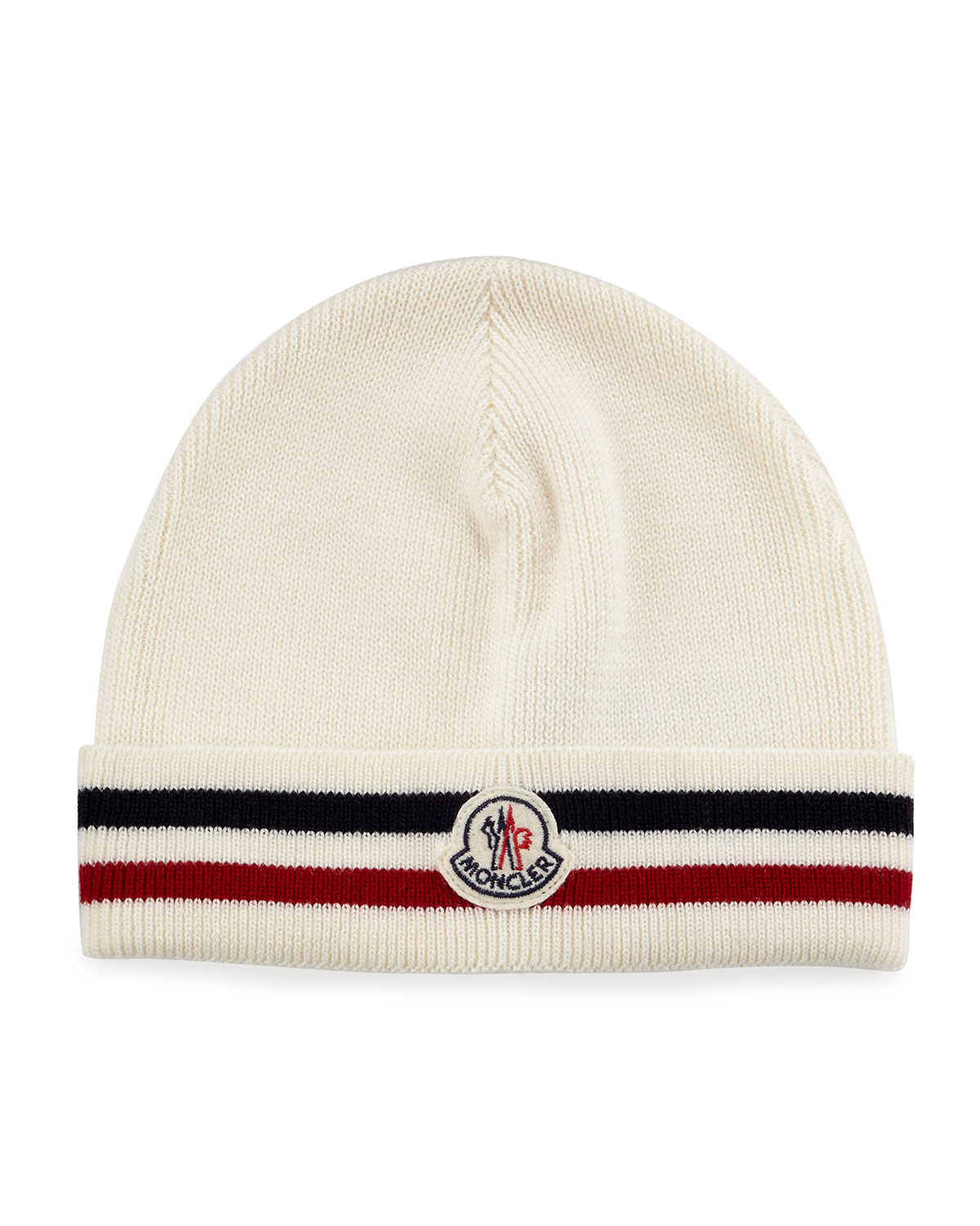 new style 95510 0f0f6 Moncler Striped Logo Cashmere Beanie Hat in White for Men - Lyst