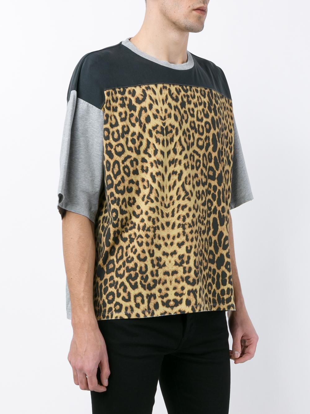 Saint laurent Distressed Leopard Print T shirt for Men