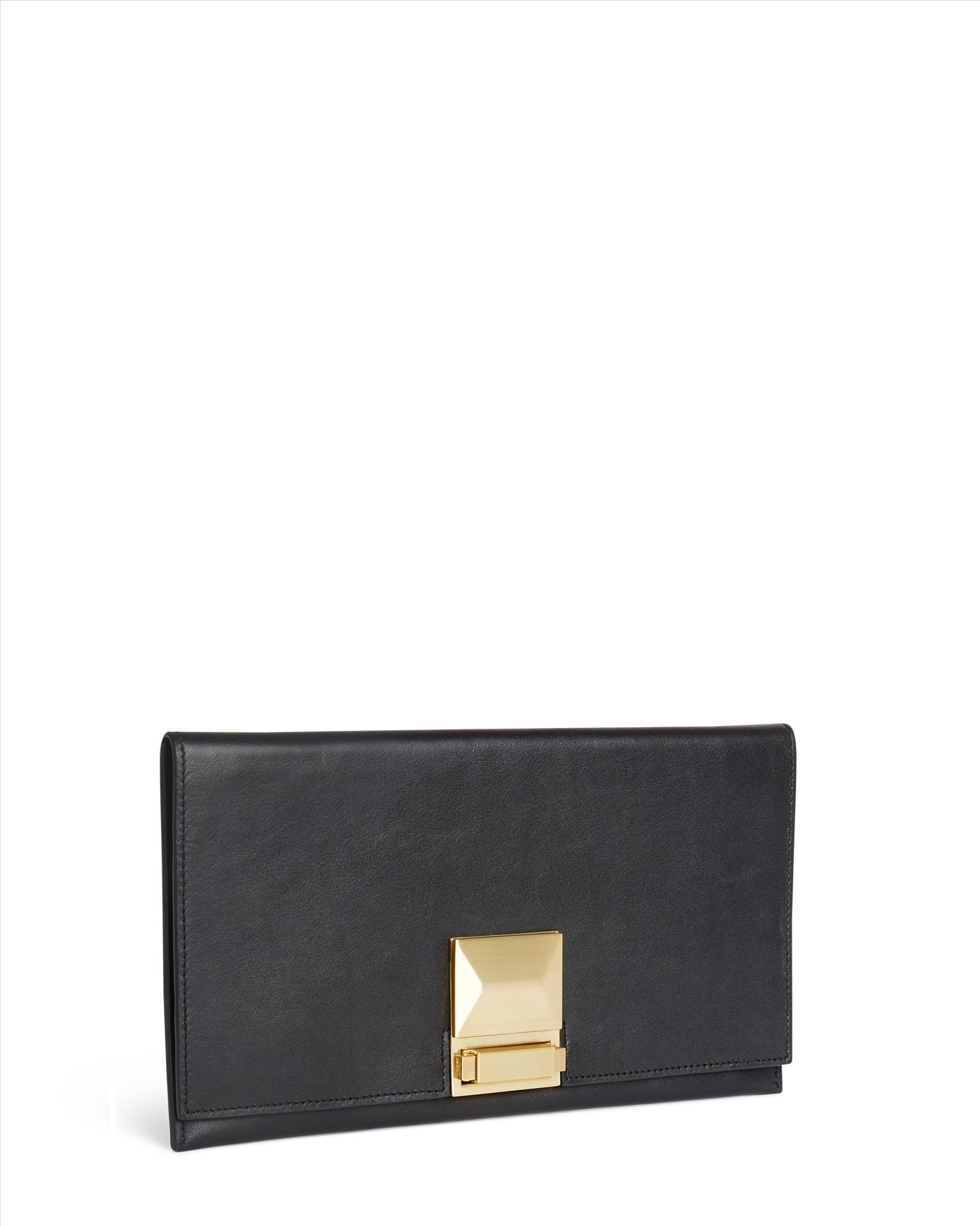 Jaeger leather clutch : Jaeger leather faceted lock clutch in black lyst
