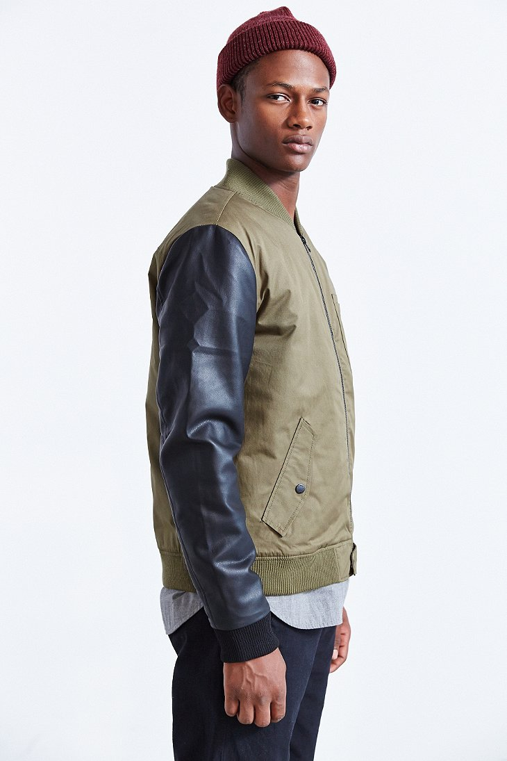Native youth Faux Leather Sleeve Bomber Jacket in Green for Men | Lyst
