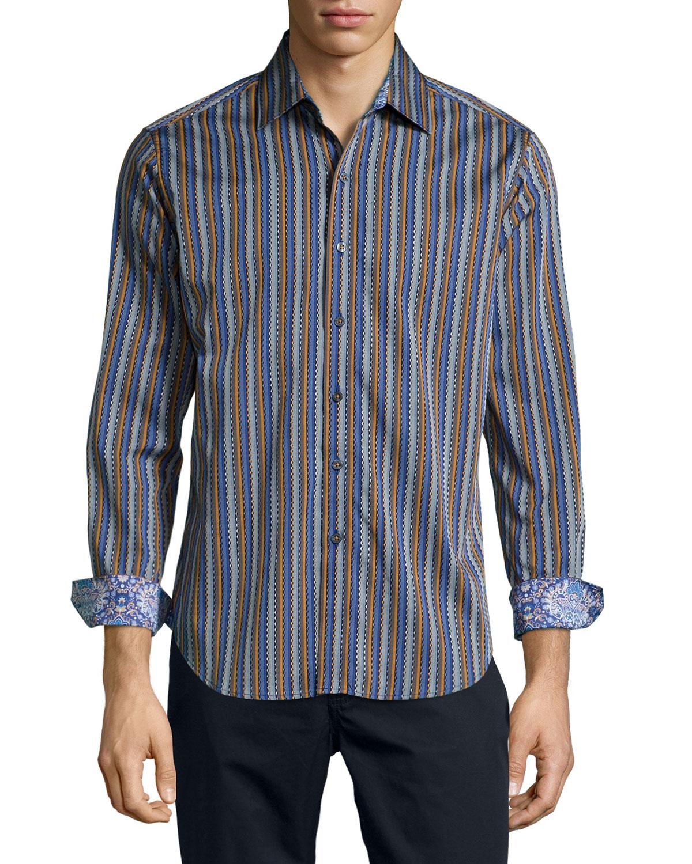 Robert graham medley striped sport shirt in blue for men for Robert graham sport shirt