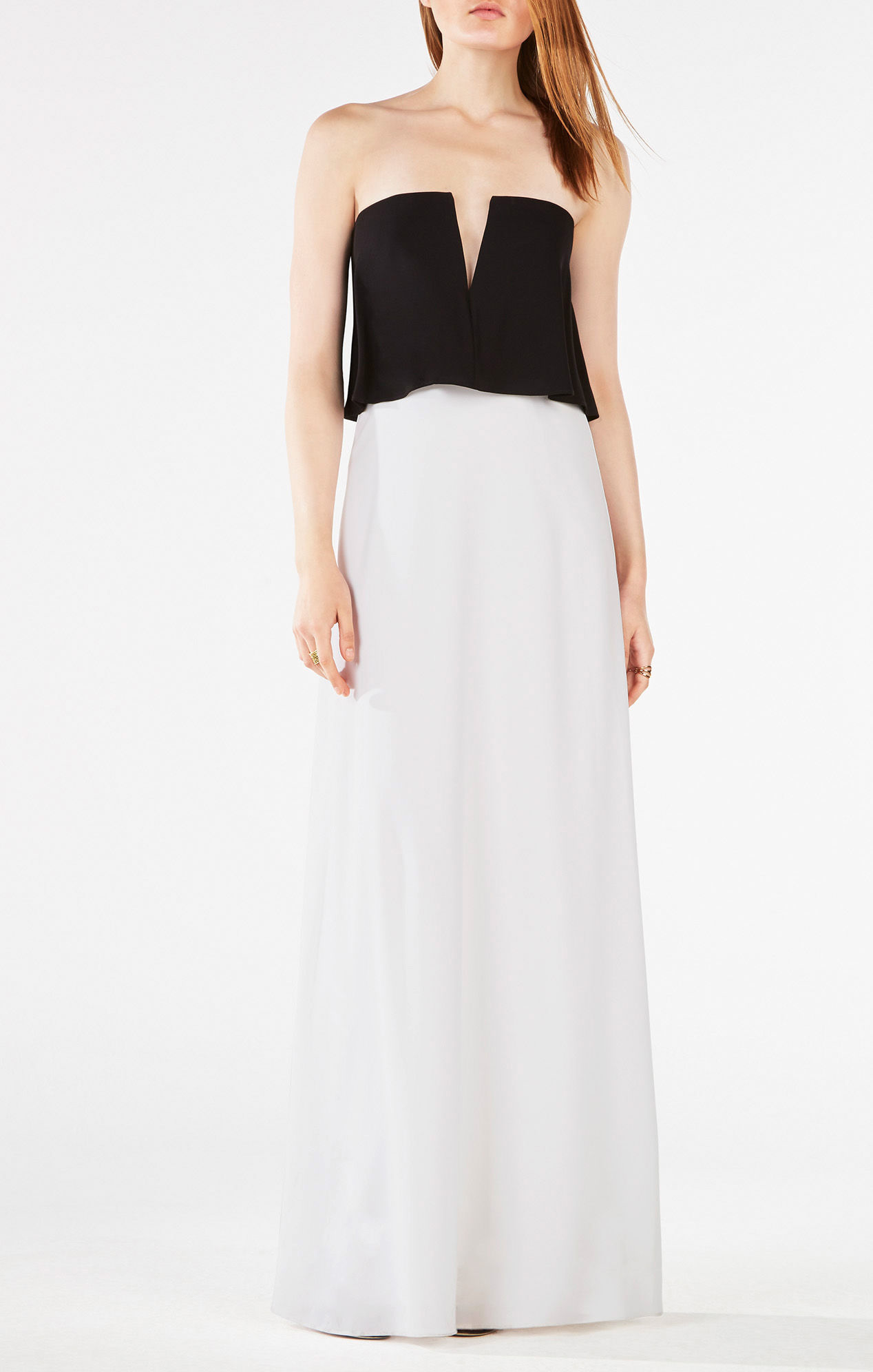 7229df306a7b BCBGMAXAZRIA Alyse Strapless Color-blocked Gown in Black - Lyst