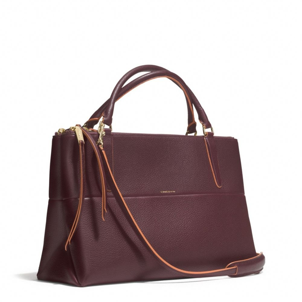 coach borough bag in edgepaint pebbled leather in purple