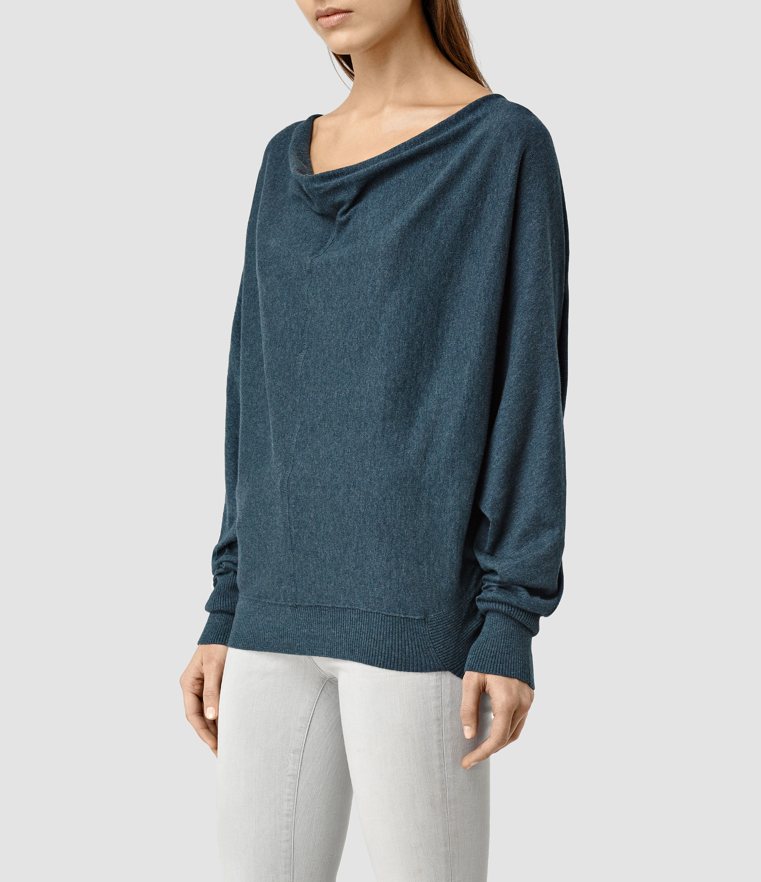 Allsaints Elgar Cowl Neck Sweater Usa Usa in Blue | Lyst