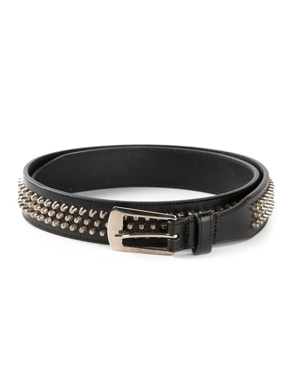 Studded Woven Leather Belt - Black Saint Laurent 4udY8U