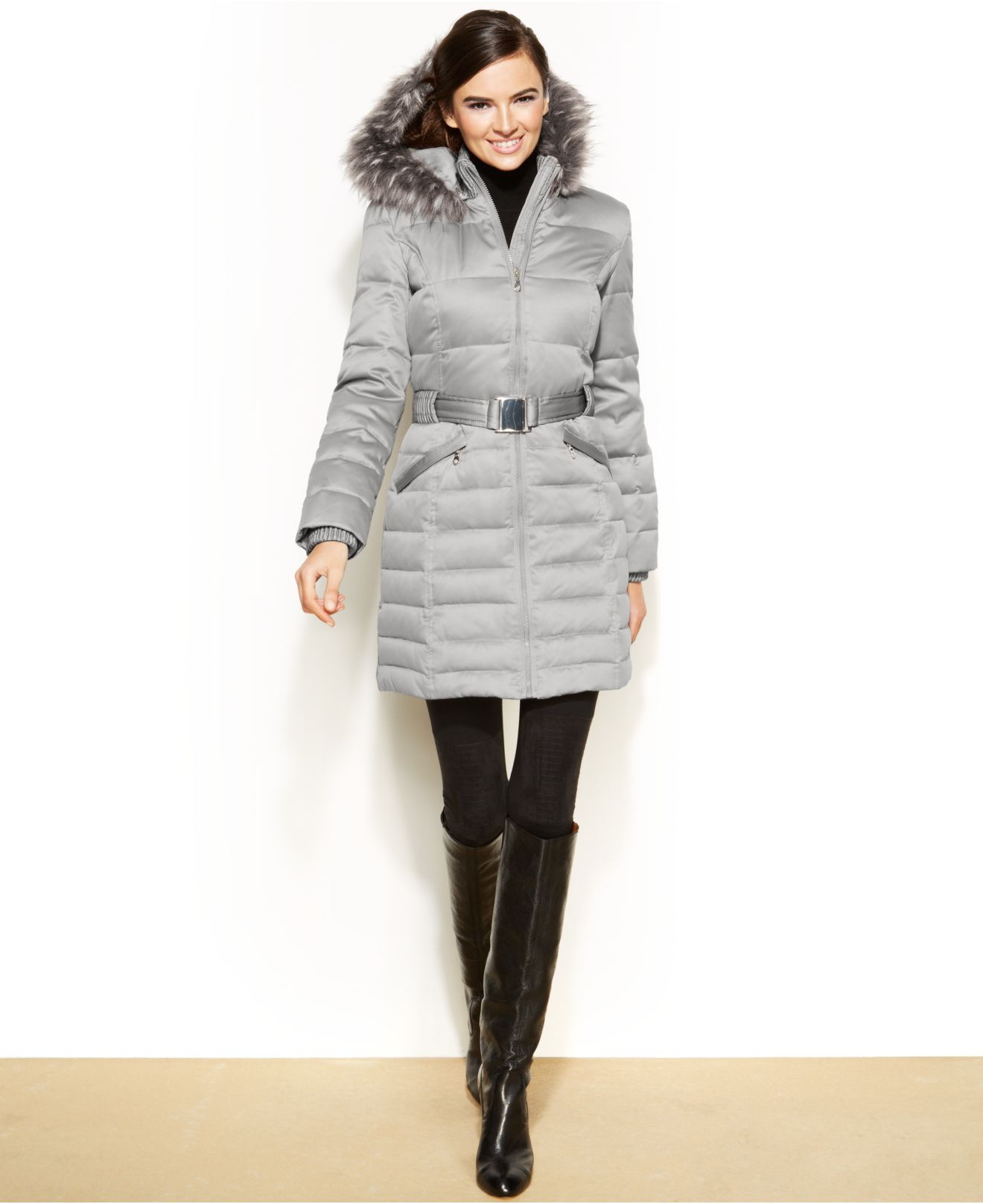 Lyst Dkny Petite Hooded Faux Fur Trim Belted Down Puffer