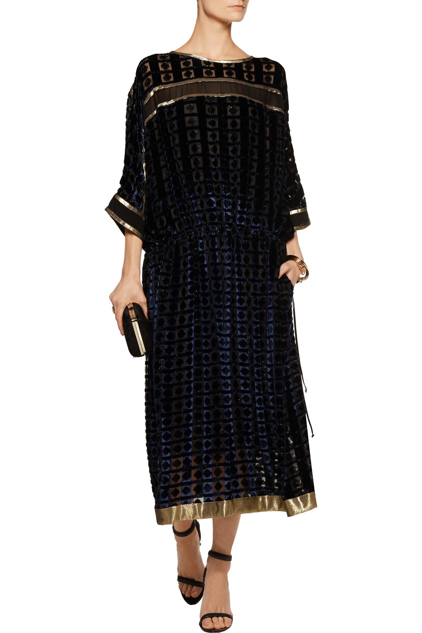 Lyst Etro Metallic Flocked Velvet Midi Dress In Black