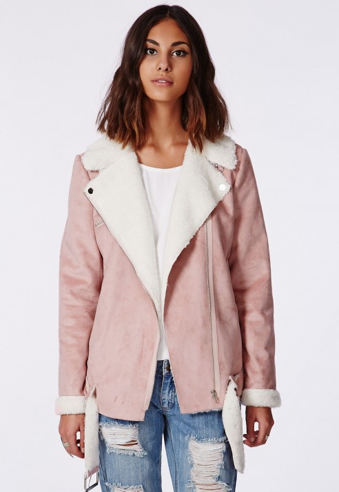 Missguided Bliss Faux Suede Shearling Coat Pink in Pink | Lyst