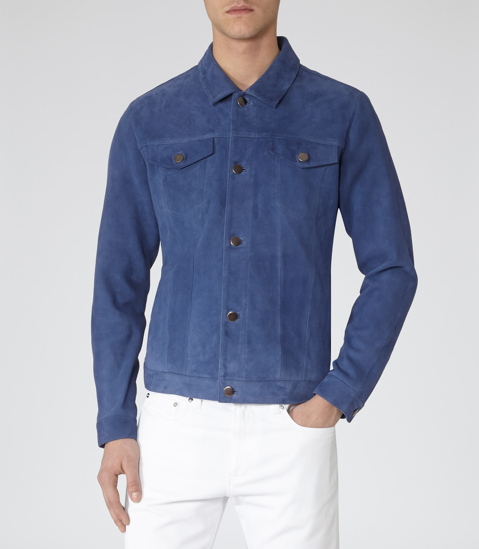Lyst Reiss 1971 Menthe Suede Jacket In Blue For Men
