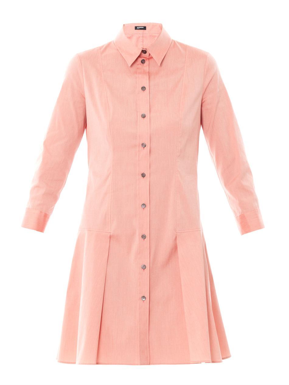 Jil sander navy techno stretch poplin shirt dress in red for What is a poplin shirt