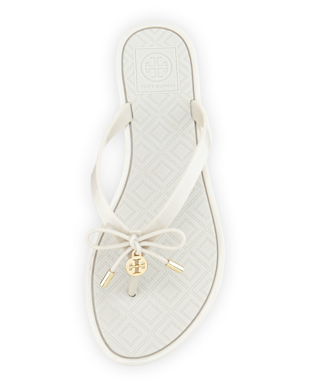 4bf0b2fa1493b Tory Burch Jelly Bow Logo-Charm Thong Sandals in White - Lyst