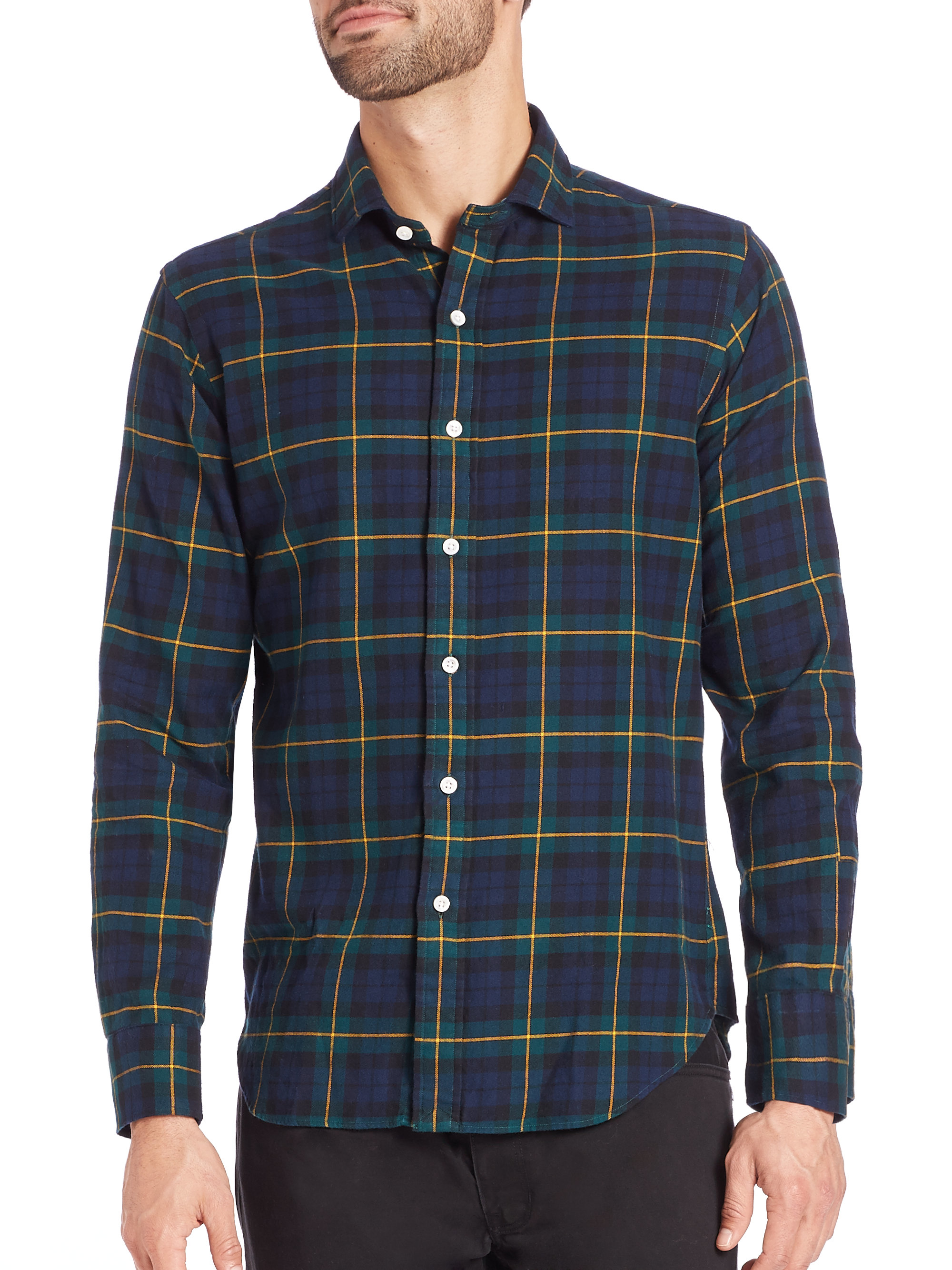 Shop blue plaid shirt at Neiman Marcus, where you will find free shipping on the latest in fashion from top designers.