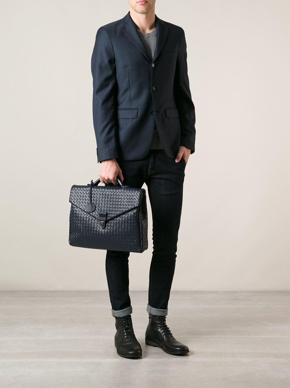 6649ed15fb3f Bottega Veneta Intrecciato Briefcase in Blue for Men - Lyst