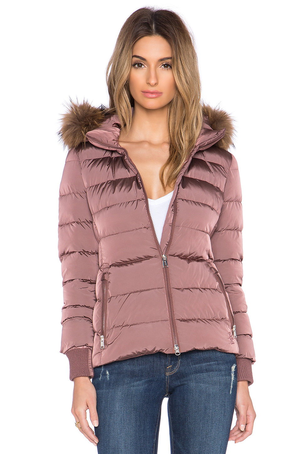 Add Down Filled Fur Trim Jacket In Pink Lyst