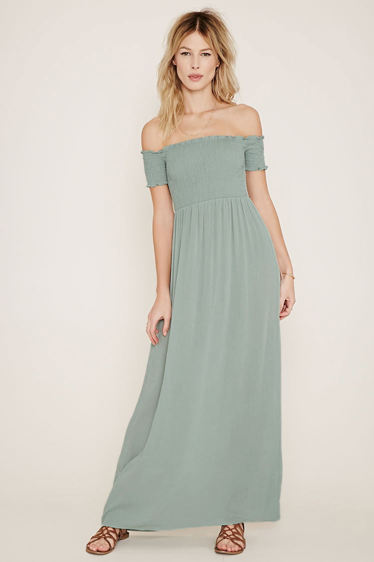 Green off the shoulder maxi dress