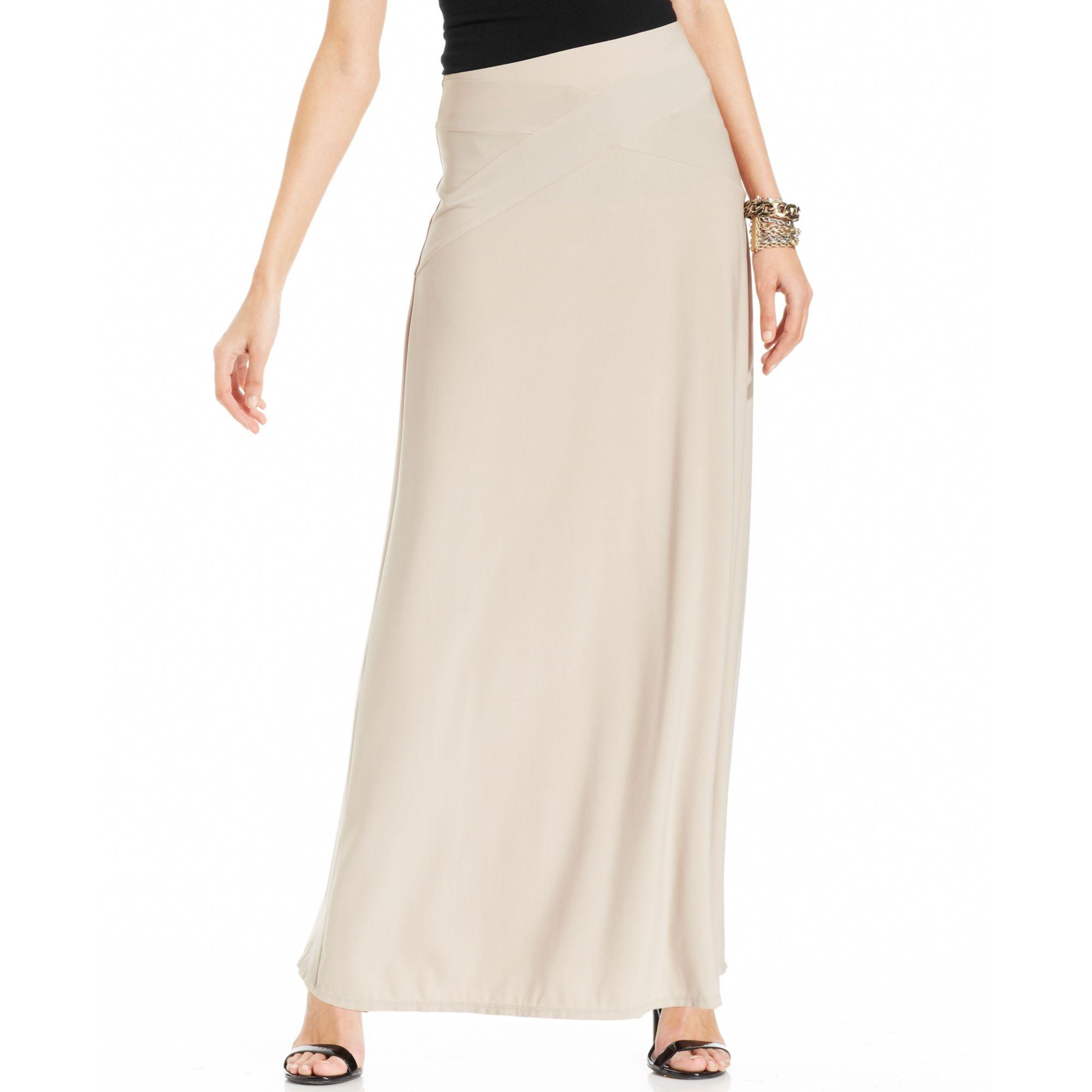 Eci Criss Cross Seamed Maxi Skirt In Beige Tan Lyst