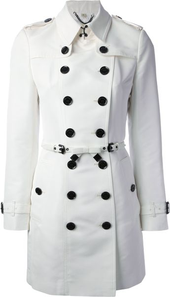 Burberry London Double Breasted Trench Coat In White Lyst