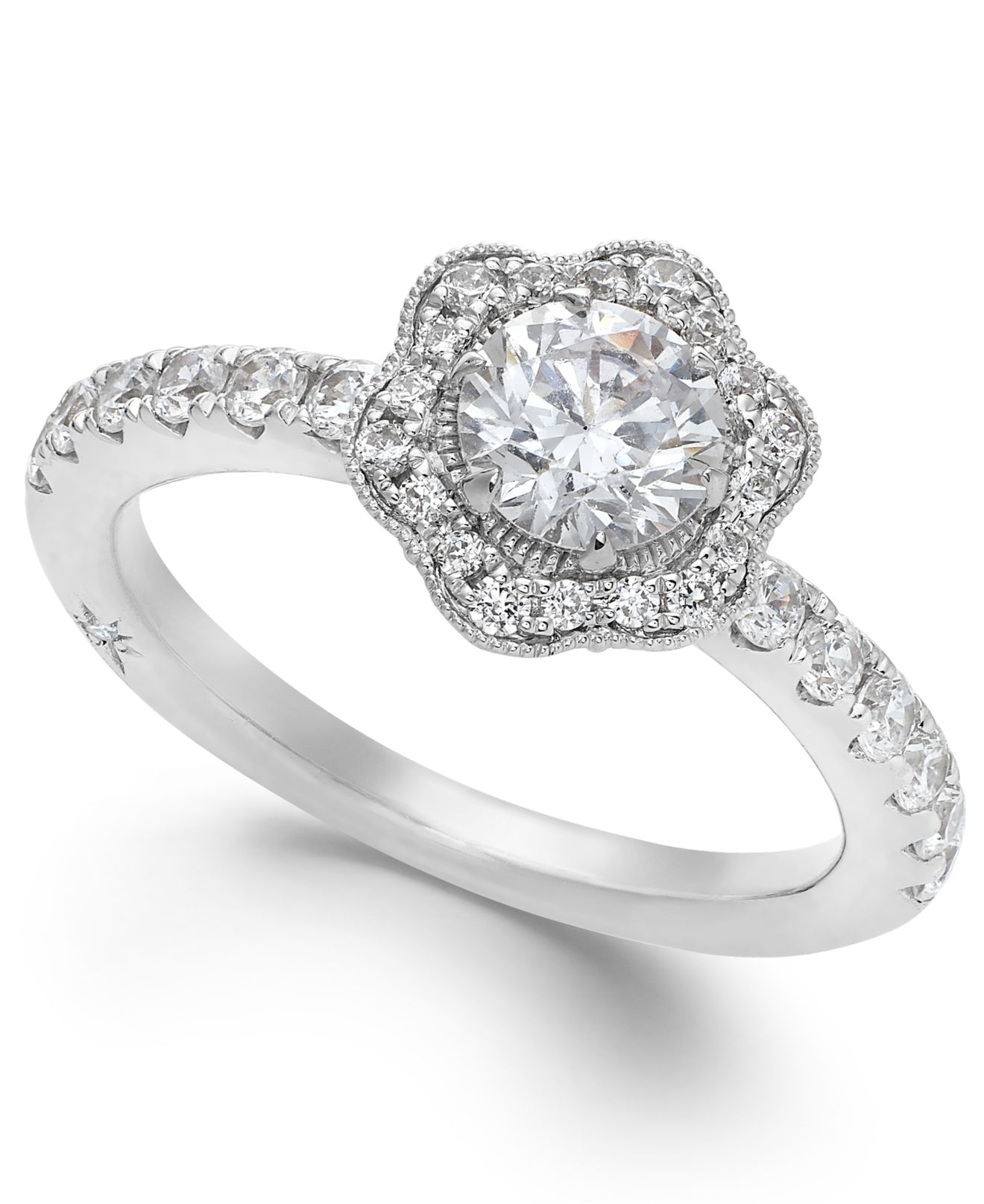 Marchesa Fleur By Certified Diamond Flower Engagement Ring In 18k White Gold